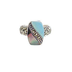 Marsala Ring Double Stone Marcasite 925 Sterling